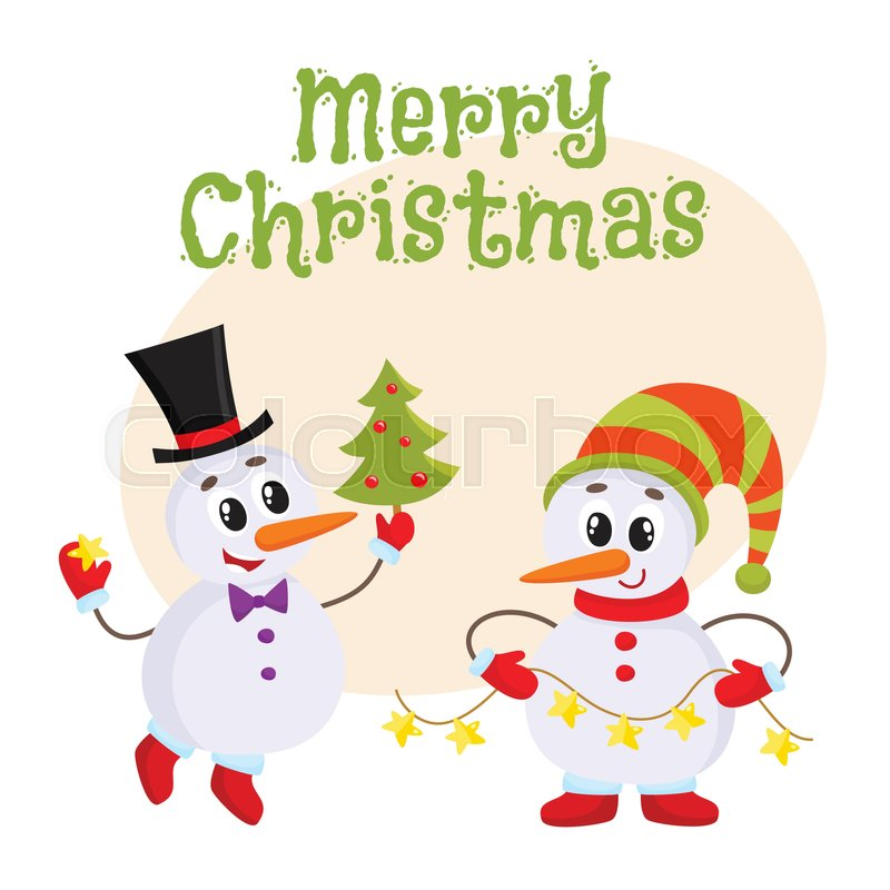 Merry Christmas greeting card template with two snowmen holding a ...