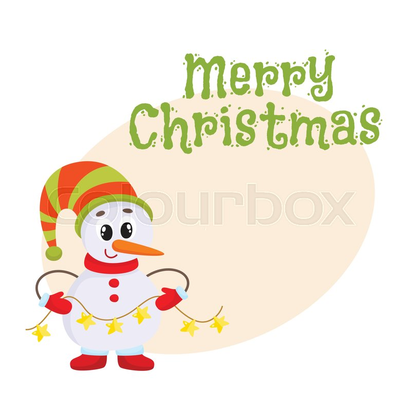 Merry christmas greeting card template with cute and funny little merry christmas greeting card template with cute and funny little snowman holding a garland cartoon vector illustration isolated christmas poster banner maxwellsz