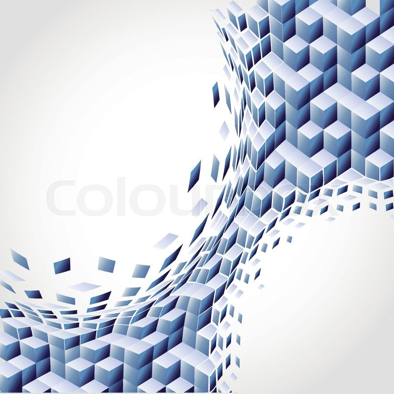 vector art blue background  abstract cube 3d