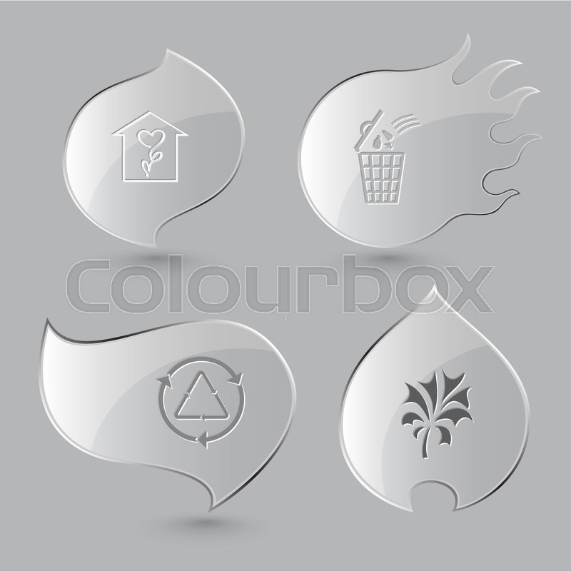4 Images Flower Shop Bin Recycle Symbol Plant Nature Set Glass