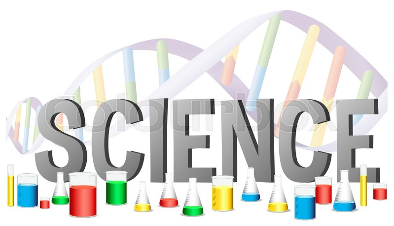 word design for science with science equipments illustration stock