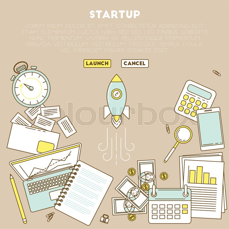 rocket startup web page business analytic illustration with laptop
