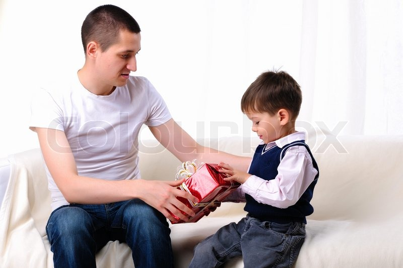 Gifts From Son To Dad Part - 23: Dad Gives His Son A Gift In Red Box, Stock Photo