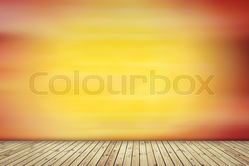 Yellow wall with woo floor background, vintage old wall, stock photo
