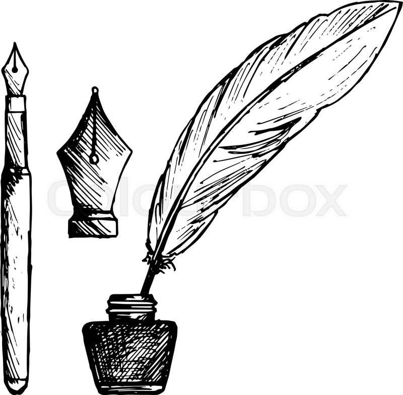 Ancient Pen Inkwell And Old Ink Pen Isolated On White