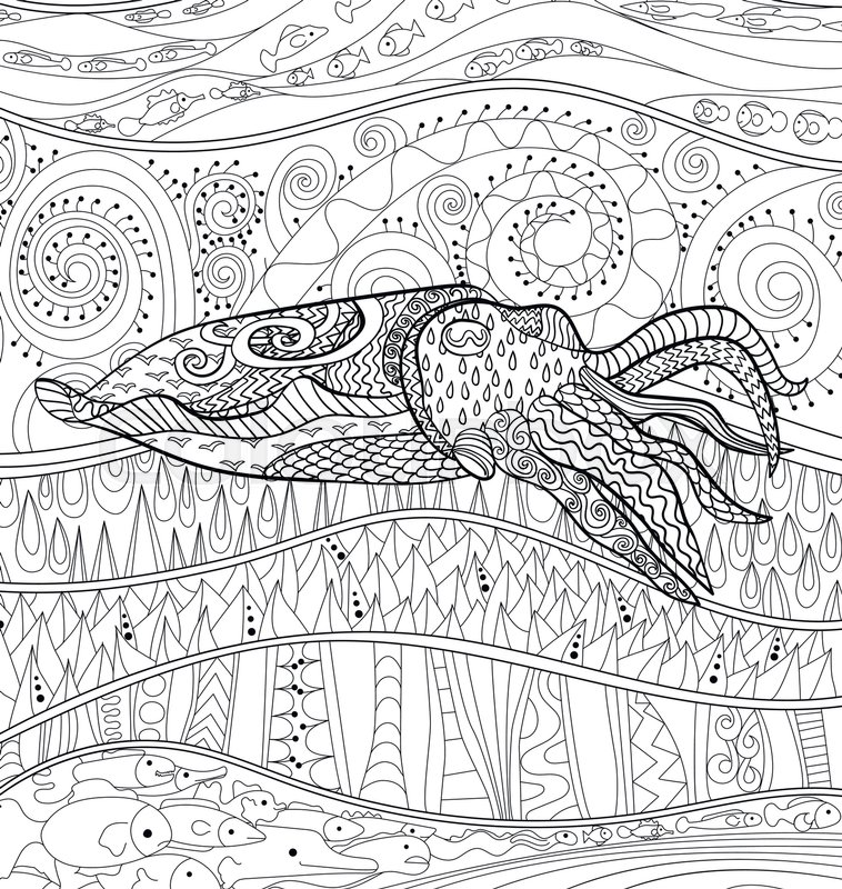 Cuttlefish With High Details Adult Antistress Coloring Page Black White Mollusk For Art Therapy Abstract Pattern Oceanic Elements Relax
