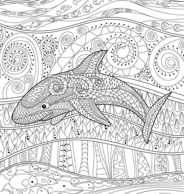 Adult Antistress Coloring Page Black White Oceanic Animal For Art Therapy Abstract Pattern With Elements Relax Grown Ups In