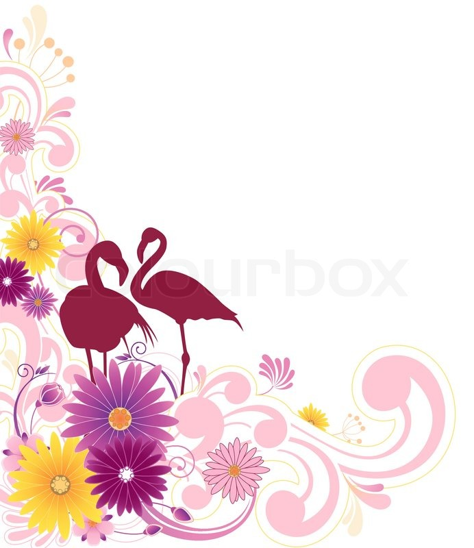 Mit Blumen, Blättern , Ornament und Flamingos | Vektorgrafik | Colourbox