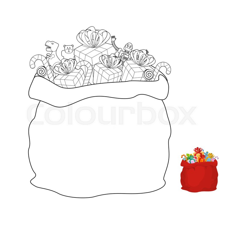 santa bag coloring book christmas sack line style vector
