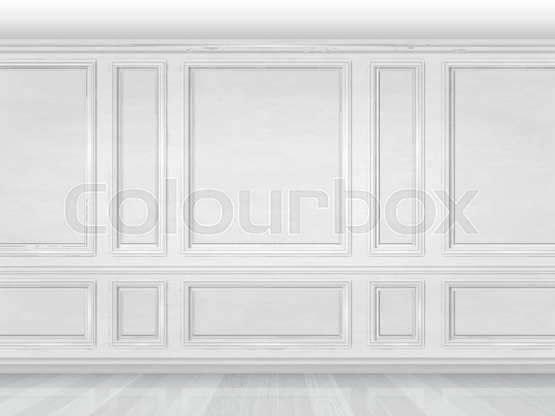 The Wall Decorated With White Wooden Panels Fragment Of