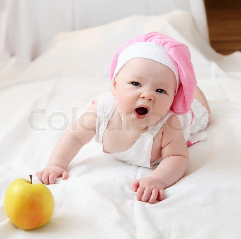 Portrait of cute little baby in a funny hat stock photo colourbox portrait of cute little baby in a funny hat stock photo voltagebd Choice Image