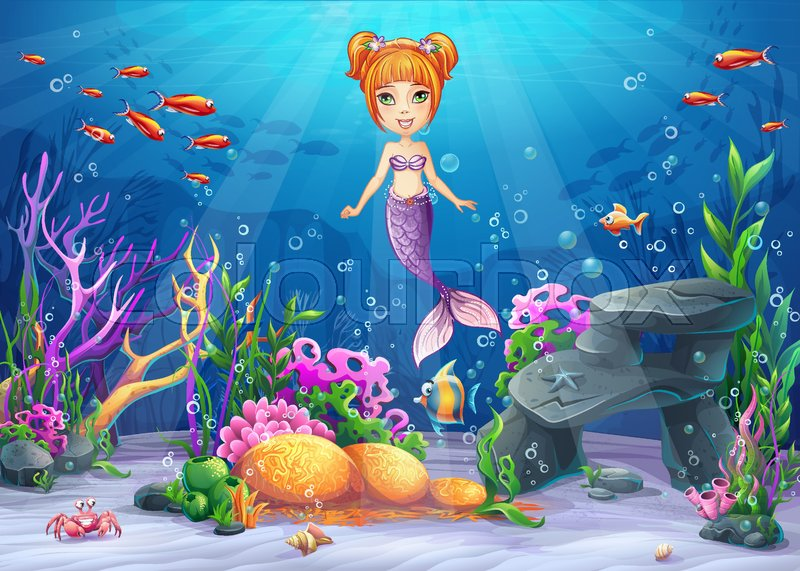 vector cartoon illustration underwater world with funny character