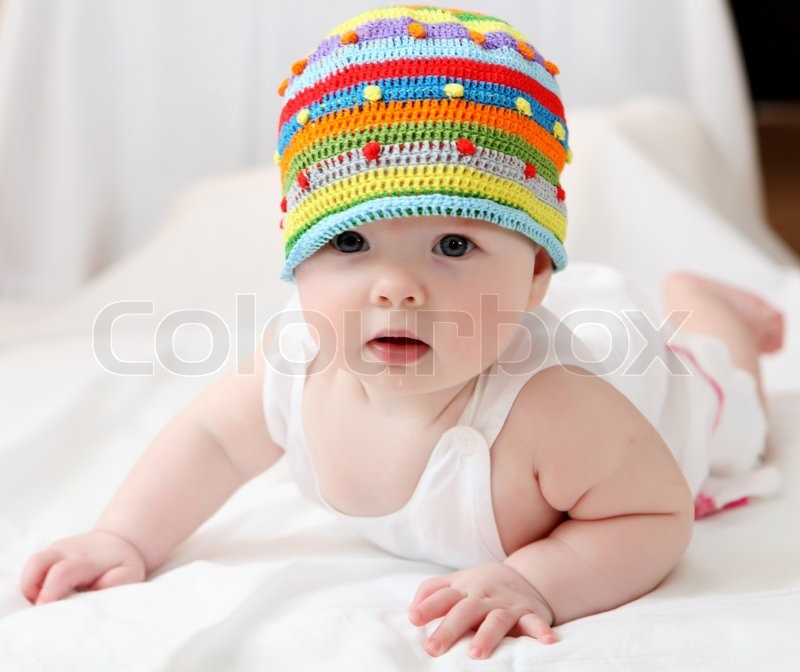 Portrait Of Cute Little Baby In A Funny Stock Photo Colourbox