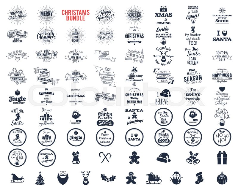 Big Christmas bundle - typography wishes, funny badges, holiday ...