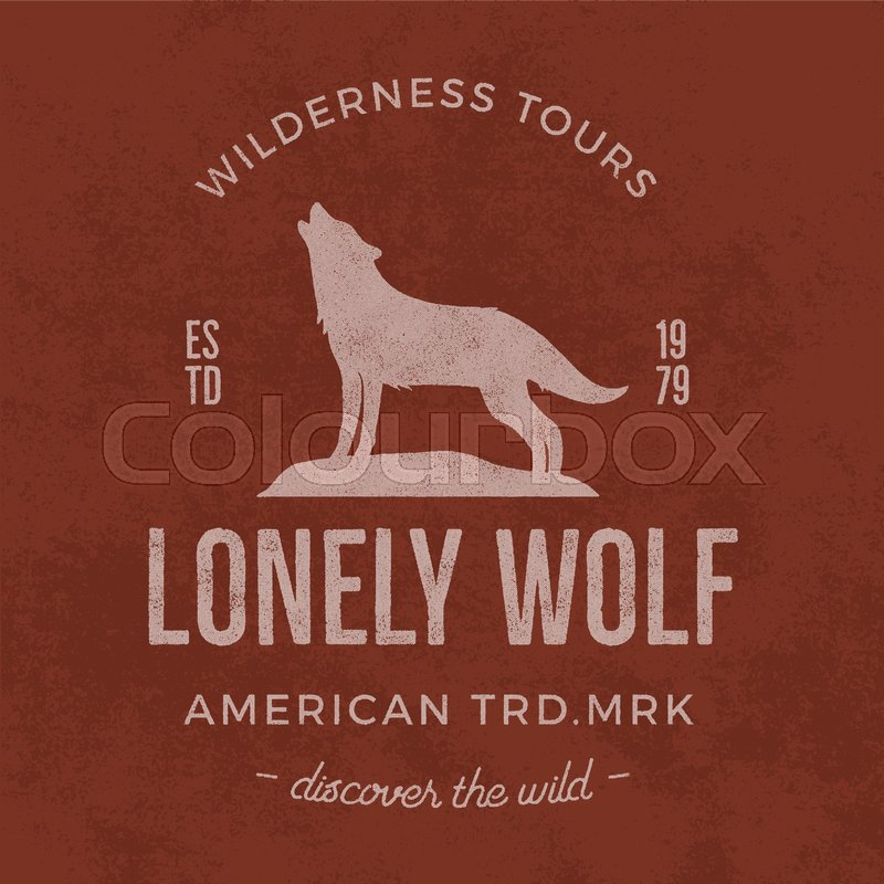Old Wilderness Label With Wolf And Typography Elements Vintage Style Logo Print Of Howling Unique Design For T Shirts Apparel