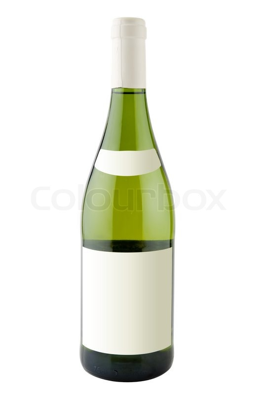 Bottle of white wine with blank labels isolated on white ...