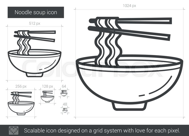 Noodle Soup Vector Line Icon Isolated Stock Vector Colourbox