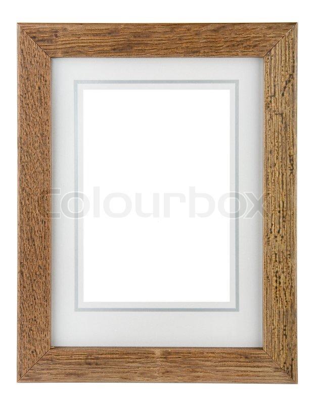 Bilderrahmen Holz Mit Namen ~ Holz Bilderrahmen mit Rand auf einem weißen Hintergrund  Stock Foto