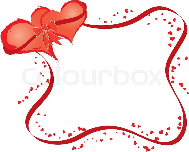 Valentines frame with two hearts, vector illustration | Stock Vector ...