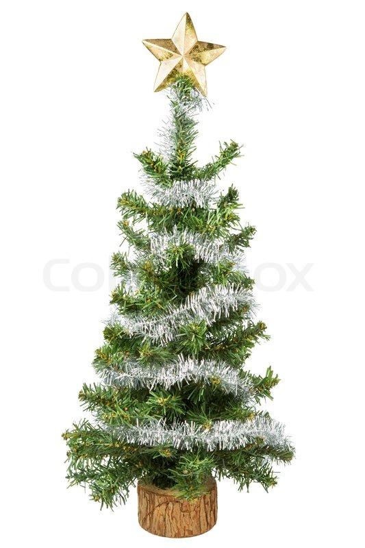 weihnachtsbaum mit stern auf wei em hintergrund. Black Bedroom Furniture Sets. Home Design Ideas