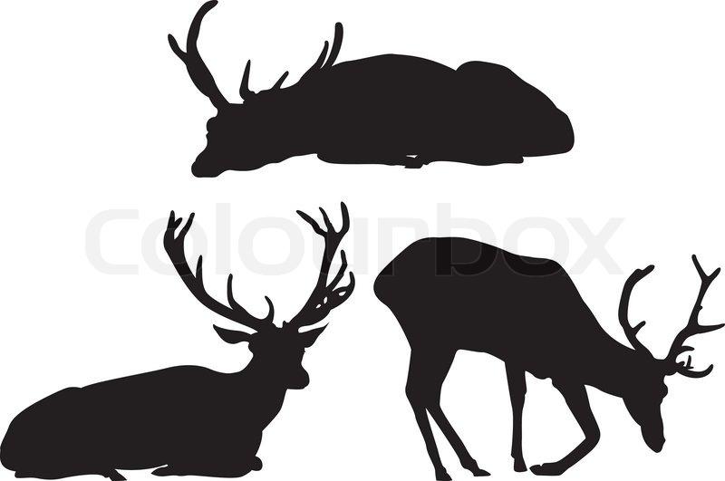 Deer Silhouettes Set Stock Vector Colourbox