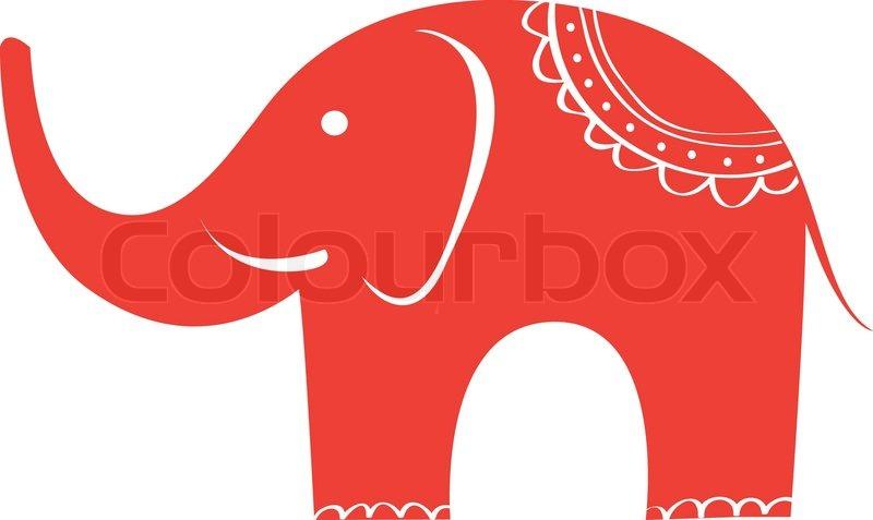 Indische Elefanten Zu Unterzeichnen Vektorgrafik Colourbox