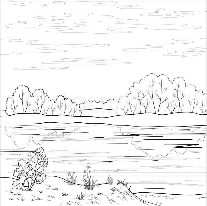 vector  landschaft  wald fluss und himmel mit wolken