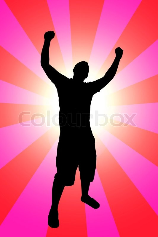 A Silhouette Of A Man Joyously Throwing His Hands Up In