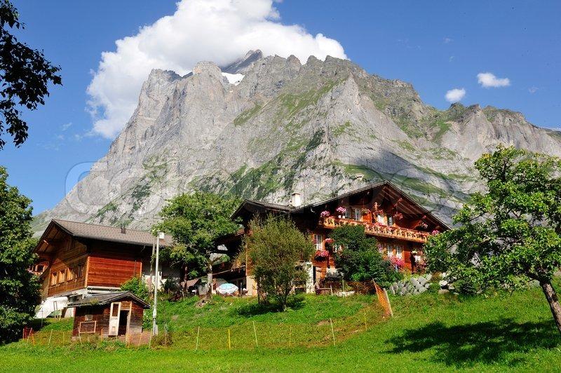 Mountain alp farmer houses in ... | Stock image | Colourbox