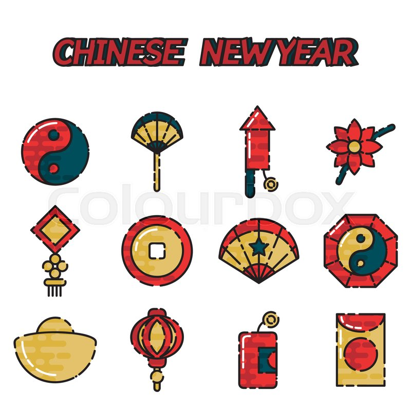 Traditional Symbols Of Chinese New Year Decorations Gifts Food