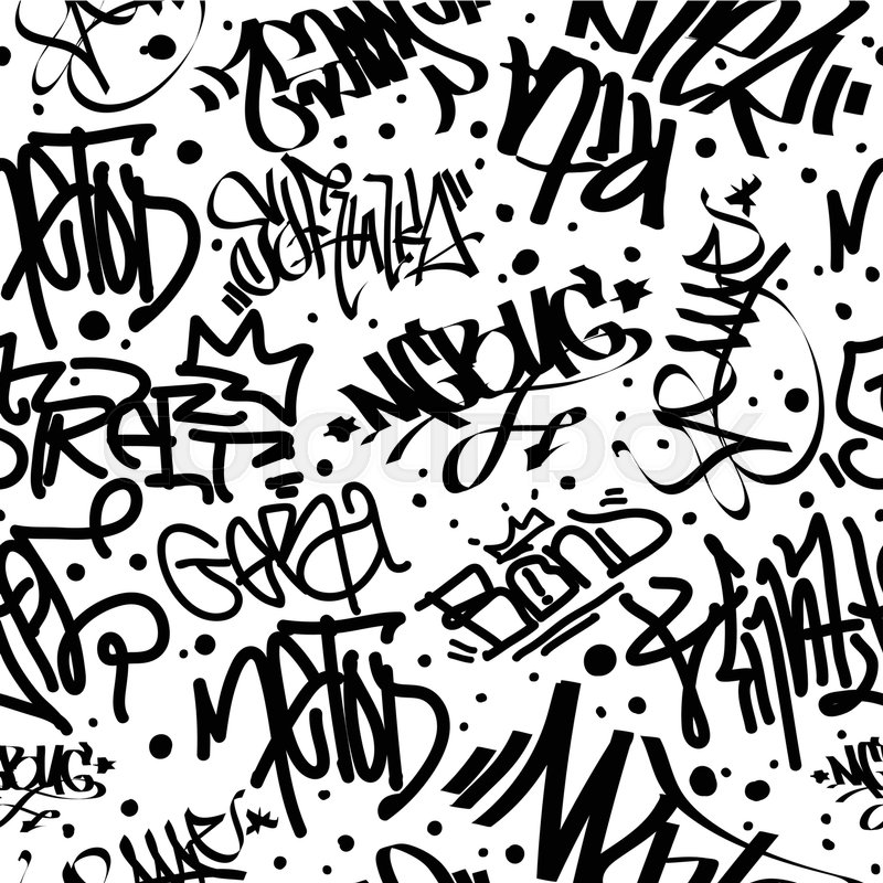 Fashion graffiti hand drawing texture street art retro style abstract vintage design for t shirt textile wrapping paper in black white stock vector