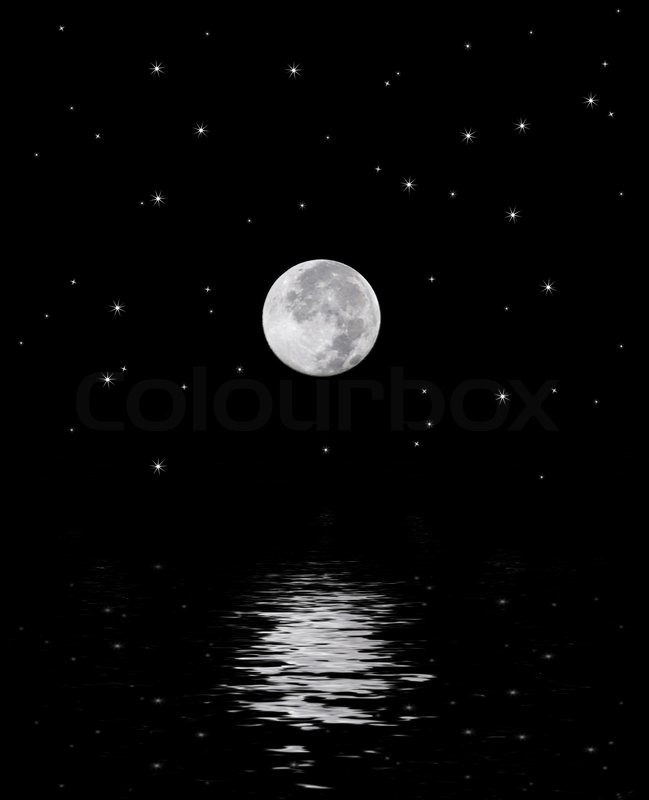 A Beautiful Harvest Moon Over Star Filled Sky Reflecting Off The Water
