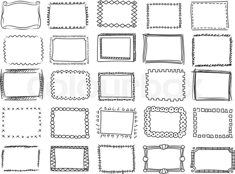 Simple Doodle Sketch Square Vector Frames Pencil Effect Collection And Hand Drawn Borders ...