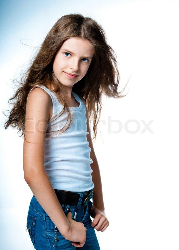 Niedliche Kleine Mädchen Im Studio Auf Stock Bild Colourbox