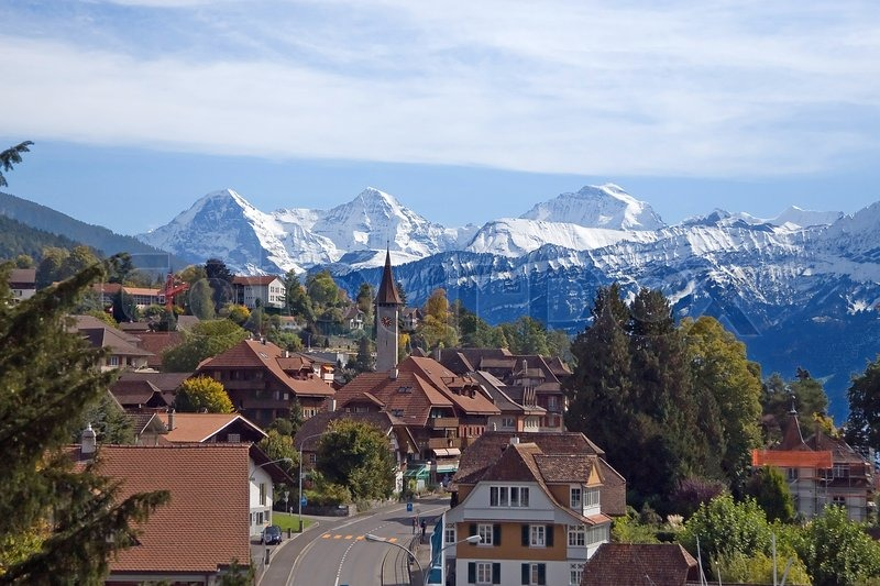 Swiss village view with Jungfrau on the backgroud Stock Photo Colourbox - Favorite House Plans