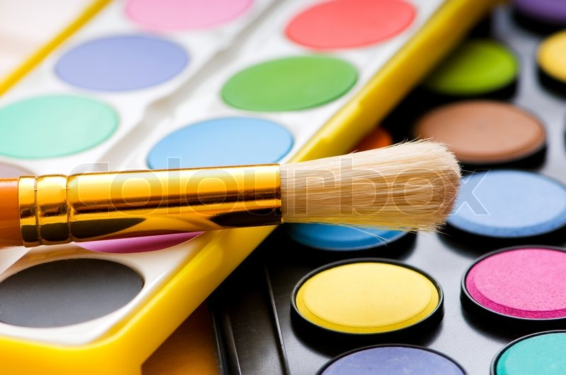 Art concept with painters palette and paint brush, stock photo