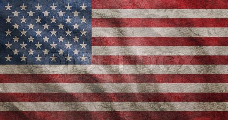 Weathered Usa Flag Grunge Rugged Condition Waving Stock