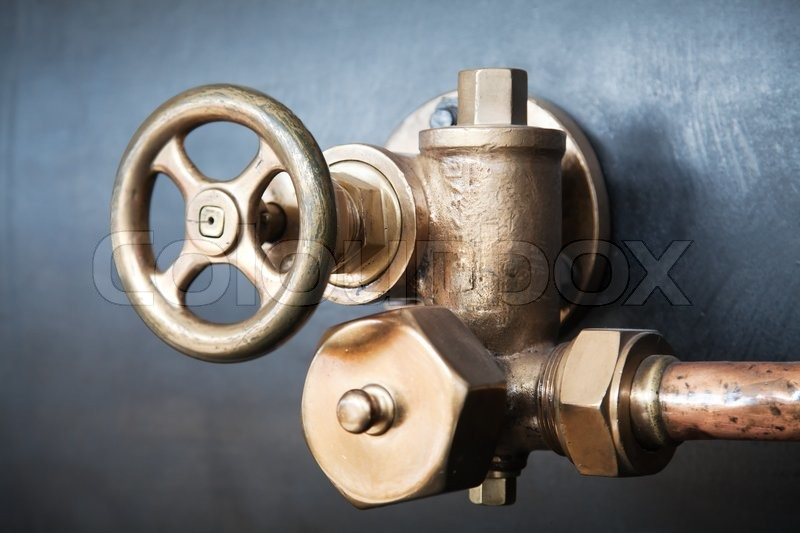 Brass valve of old train steam engine   Stock Photo   Colourbox
