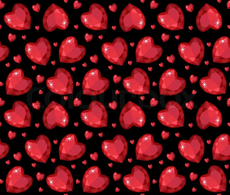 Jewelry Ruby Red Heart Seamless Pattern Brilliant Gems Hearts Endless Background Texture Wallpaper Valentines Day Vector Illustration
