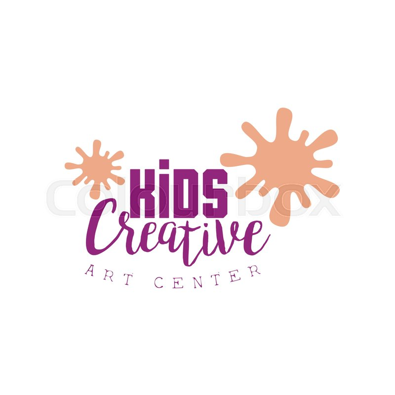 Kids Creative Class Template Promotional Logo With Paint Blobs