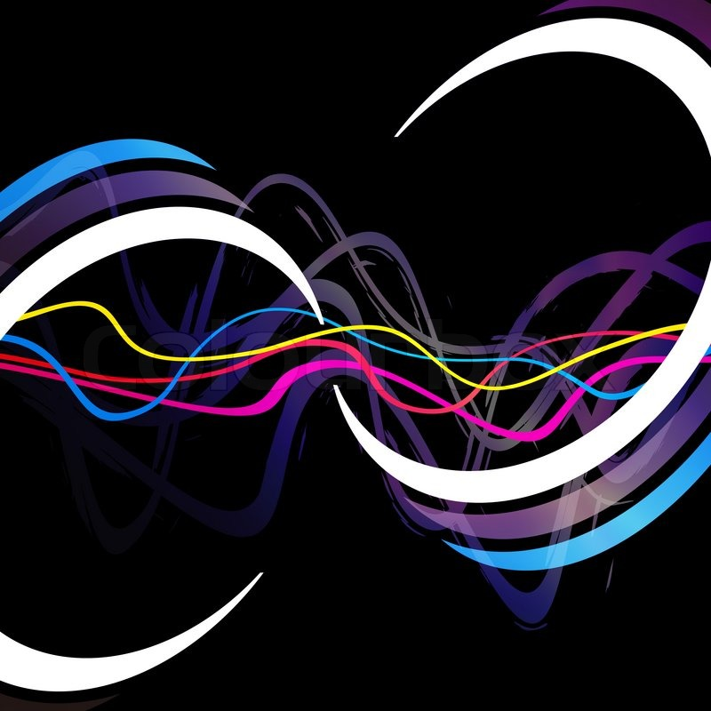 Abstract Layout With Wavy Lines And Circular Rings In The