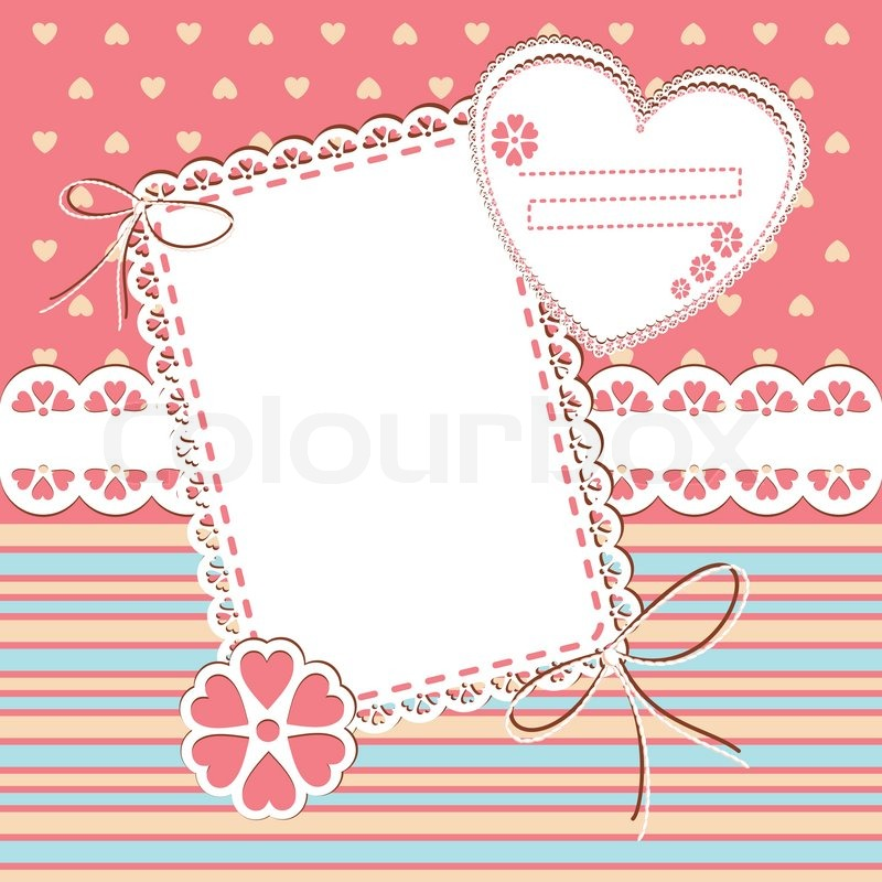 Stock vector of u0026#39;Baby Girl Arrival Card with Photo Frame and place for ...