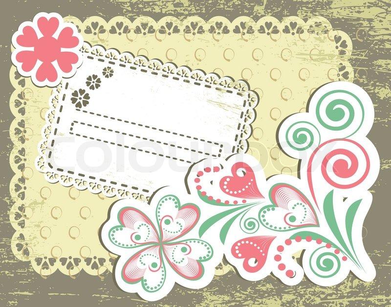 vintage flower frame design for greeting card on lace grange, Greeting card