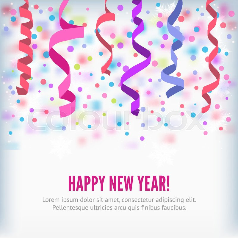 happy new year vector streamers and confetti background streamers or curved swirl paper ribbon festive streamers celebration background