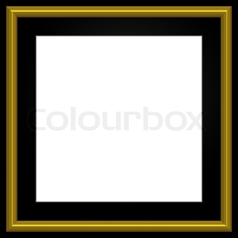 Gold And Black Square Photo Frame And White Copyspace