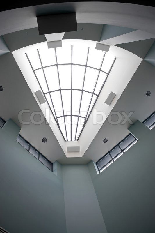 Modern Architecture Interior a modern architectural interior with a triangular shaped skylight