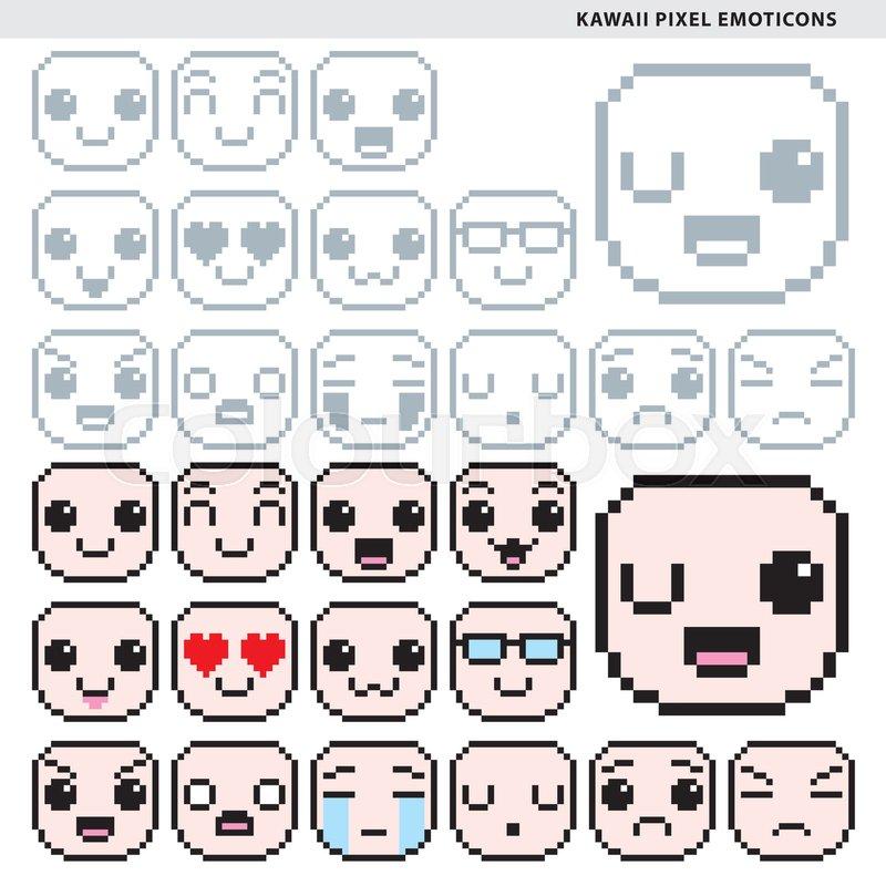 Set Of Fifteen Kawaii Pixel Emoticons Stock Vector
