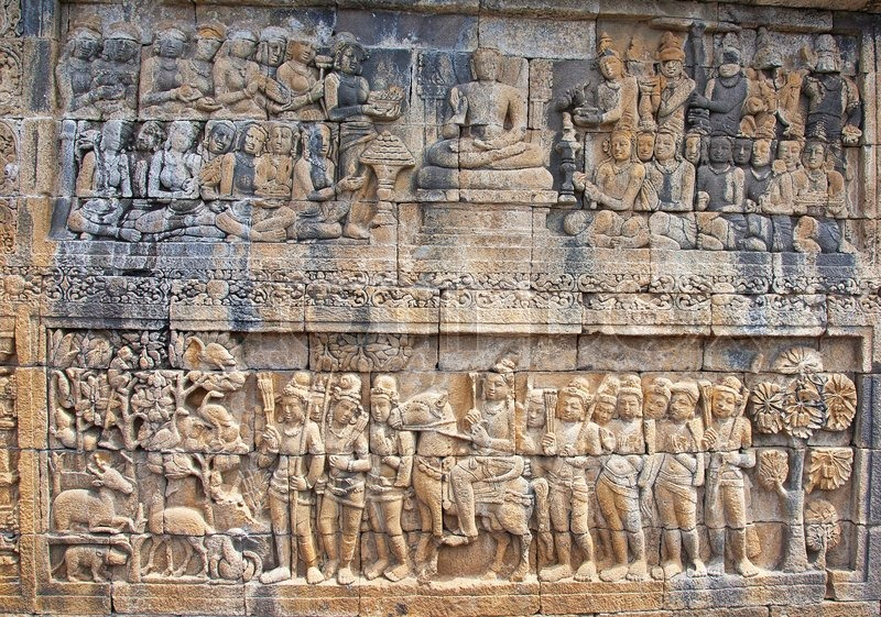 Stone carving in the borobudur temple near yogyakarta on