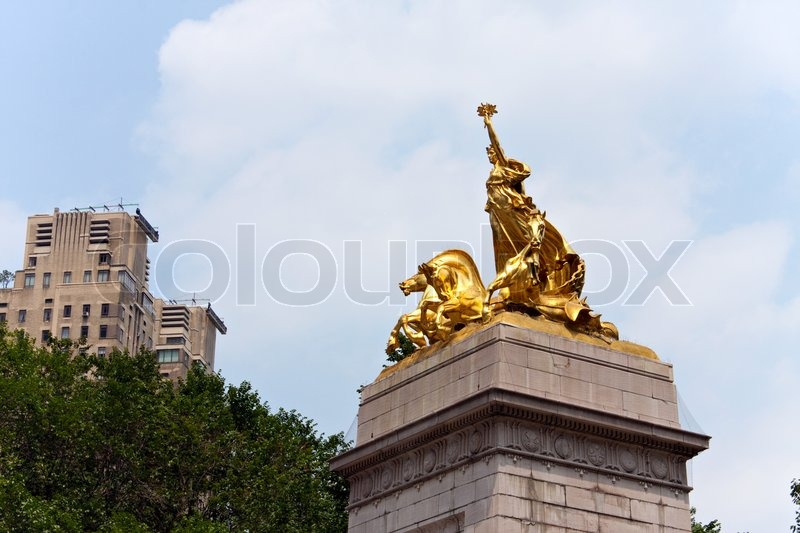 The Historic Golden Maine Monument Statue Located In
