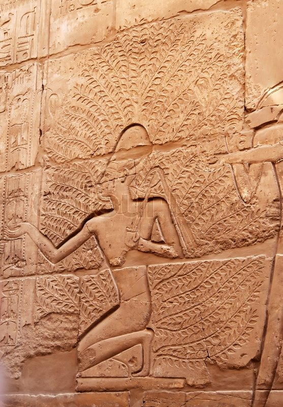 Egyptian stone carving on the wall of karnak temple